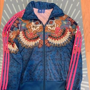 Blue pink adidas jacket with flower patter